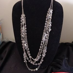 WHBM long silver and Crystal necklace